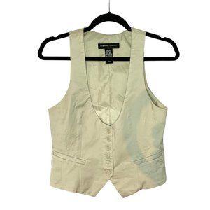 New York & Company Pale Tan Button Up Vest (Sz: 4)